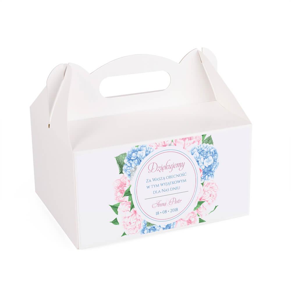 Pudełko na ciasto tort weselny podziękowanie kwiaty