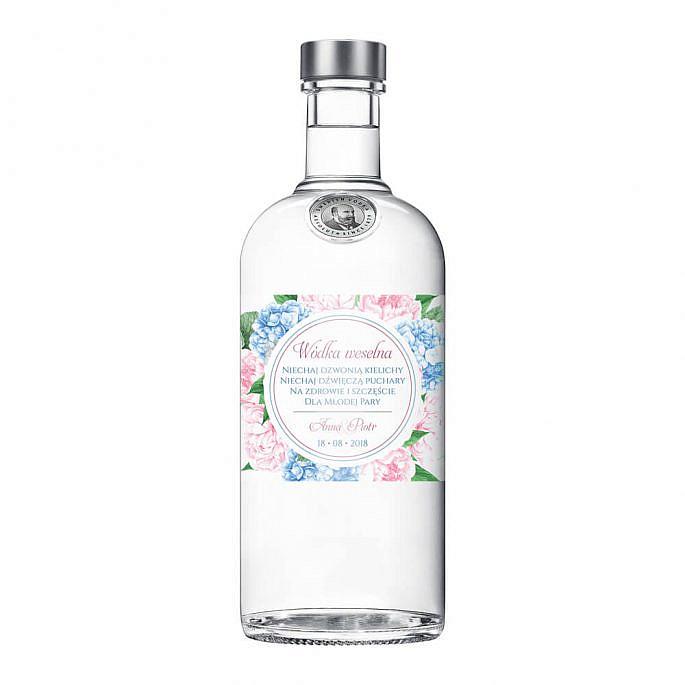 Naklejka na alkohol wódkę weselną kwiaty
