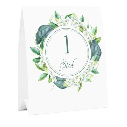 Numer na stół weselny oznaczenie informacja dla gości kwiaty zielone