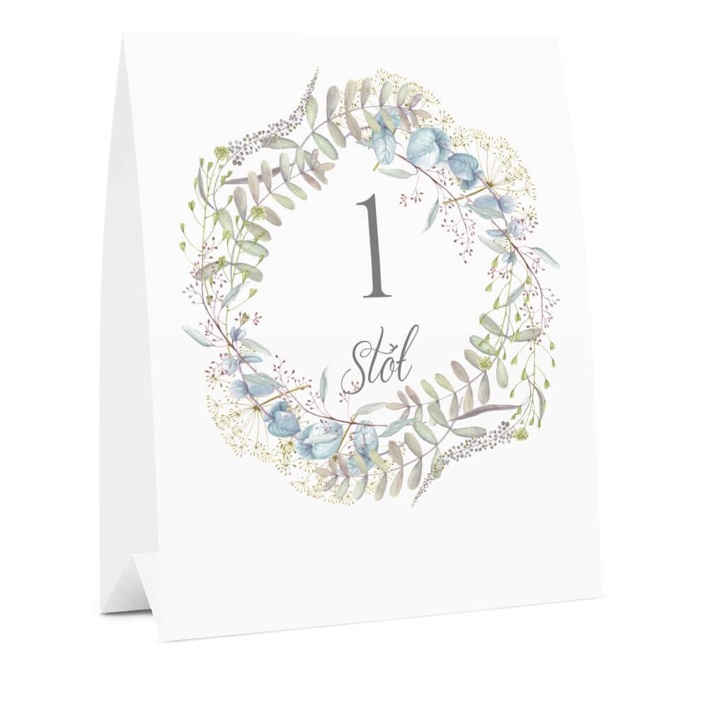 Numer na stół weselny oznaczenie informacja dla gości kwiaty