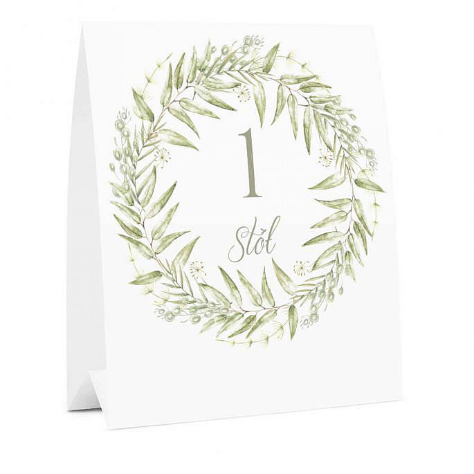 Numer na stół weselny oznaczenie informacja dla gości kwiaty greenery