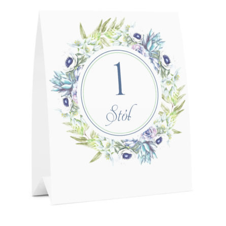 Numer na stół weselny oznaczenie informacja dla gości kwiaty anemony sukulenty