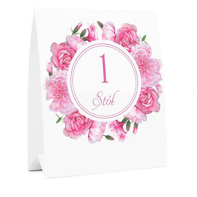 Numer na stół weselny oznaczenie informacja dla gości kwiaty goździki