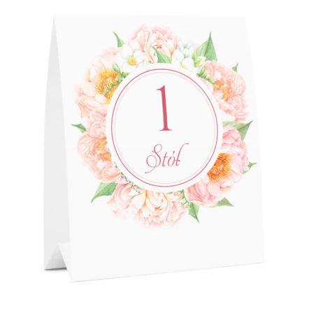 Numer na stół weselny oznaczenie informacja dla gości kwiaty frezje piwonie