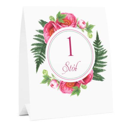 Numer na stół weselny oznaczenie informacja dla gości kwiaty piwonie