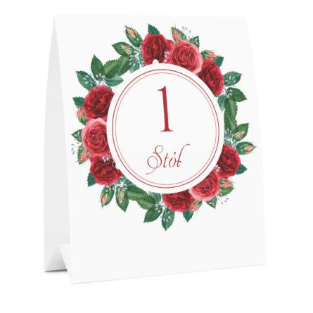 Numer na stół weselny oznaczenie informacja dla gości kwiaty róże