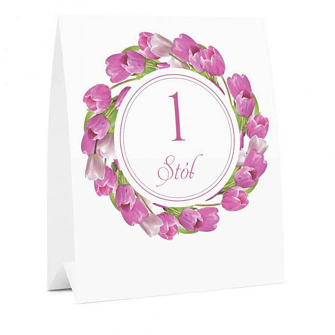 Numer na stół weselny oznaczenie informacja dla gości kwiaty tulipany