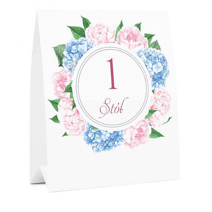 Numer na stół weselny oznaczenie informacja dla gości kwiaty piwonie hortensje