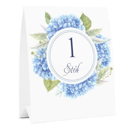 Numer na stół weselny oznaczenie informacja dla gości kwiaty hortensje