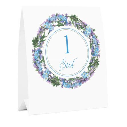 Numer na stół weselny oznaczenie informacja dla gości kwiaty niezapominajki
