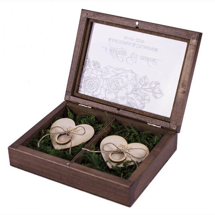 Grawerowane pudełko na obrączki ślubne