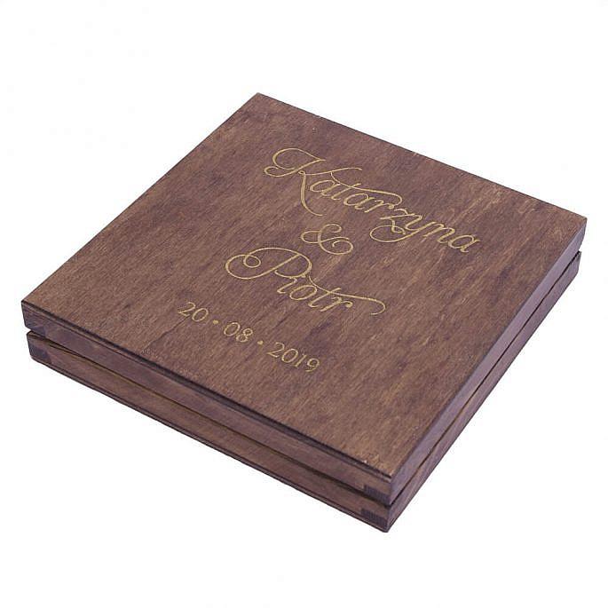 Pudełko na obrączki drewniane personalizacja do kościoła