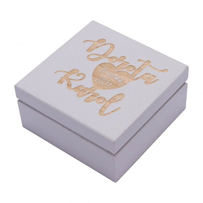 Pudełko na obrączki ślubne personalizacja drewniane malowane do kościoła