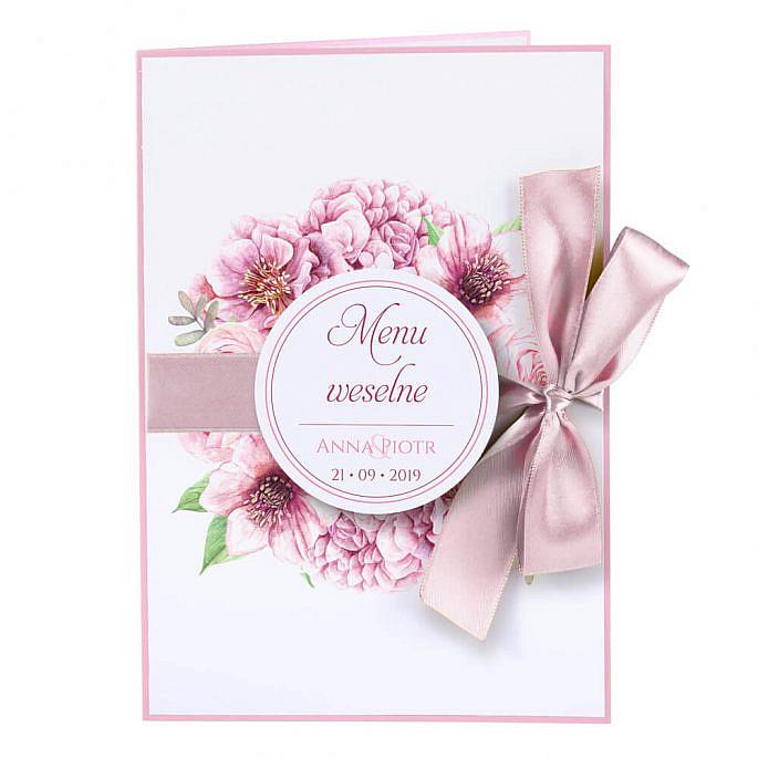 karty menu weselne spis dań na stół motyw kwiatowy personalizacja