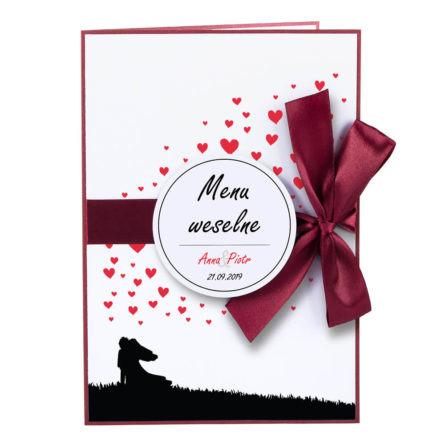 karty menu weselne spis dań na stół motyw love serca personalizacja