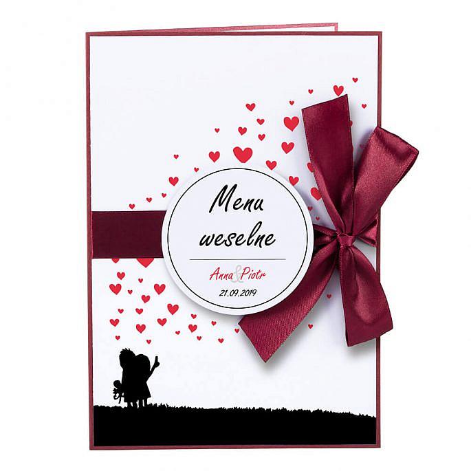 karty menu weselne spis dań na stół motyw love personalizacja