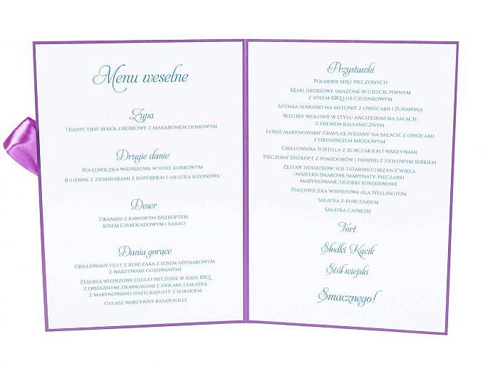 Menu weselne spis dań na stół godziny kolorowe motyw kwiatowy
