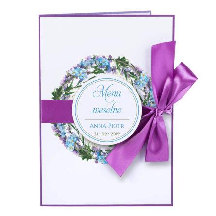 Menu weselne spis dań na stół motyw kwiatowy personalizacja