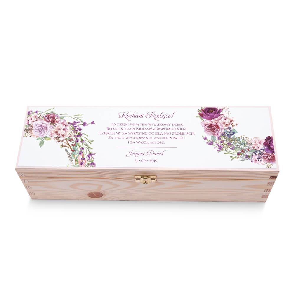 Skrzynka na alkohol wino kolorowy nadruk życzenia kwiaty fioletowe