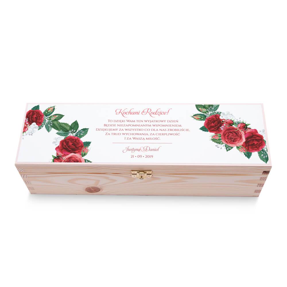 Skrzynka na alkohol wino kolorowy nadruk życzenia kwiaty czerwone róże