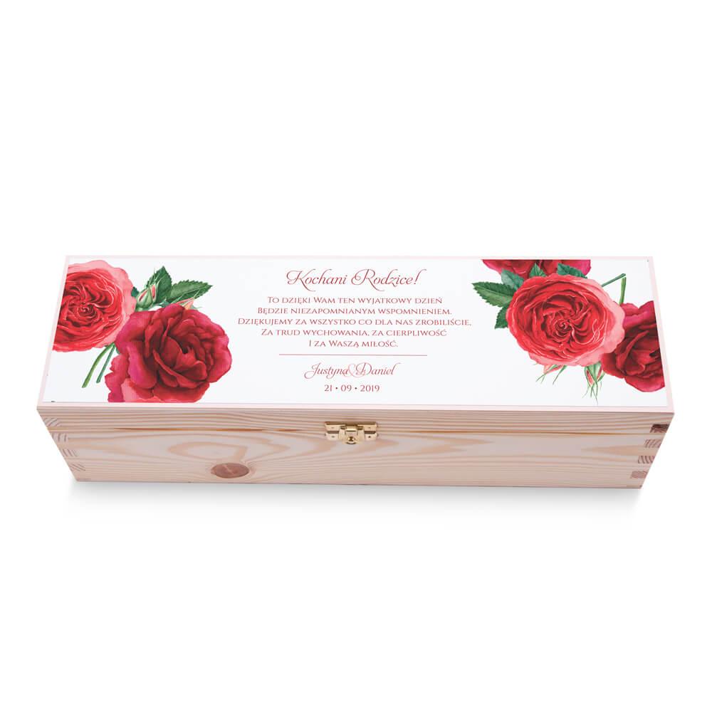 Skrzynka na alkohol wino kolorowy nadruk życzenia kwiaty róże