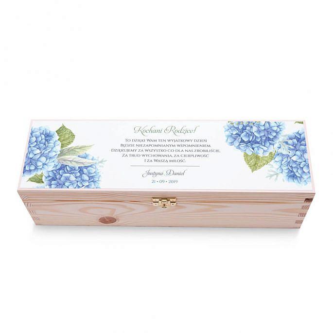 Skrzynka na alkohol wino kolorowy nadruk życzenia kwiaty niebieska hortensja