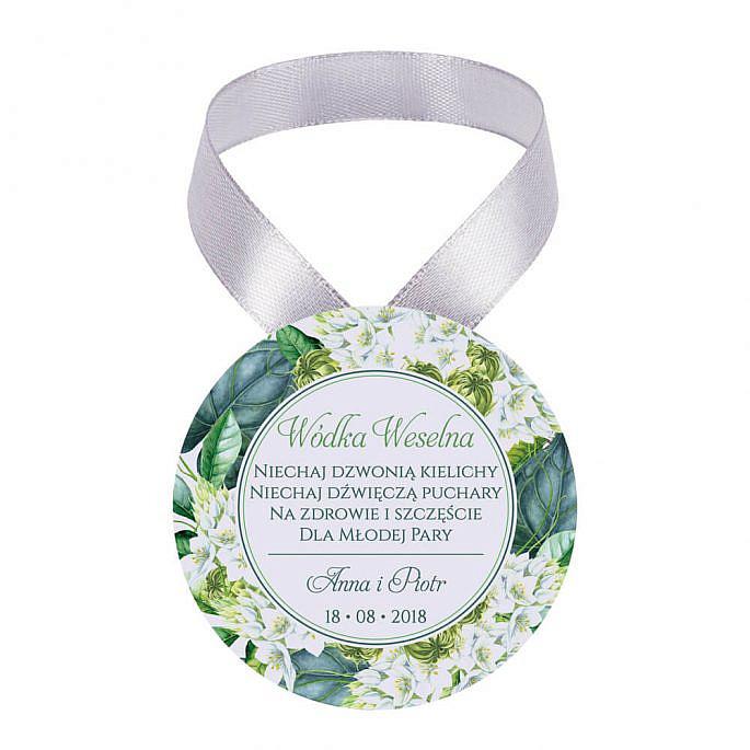 Zawieszka ozdoba na alkohol weselny na stół kwiaty zielone