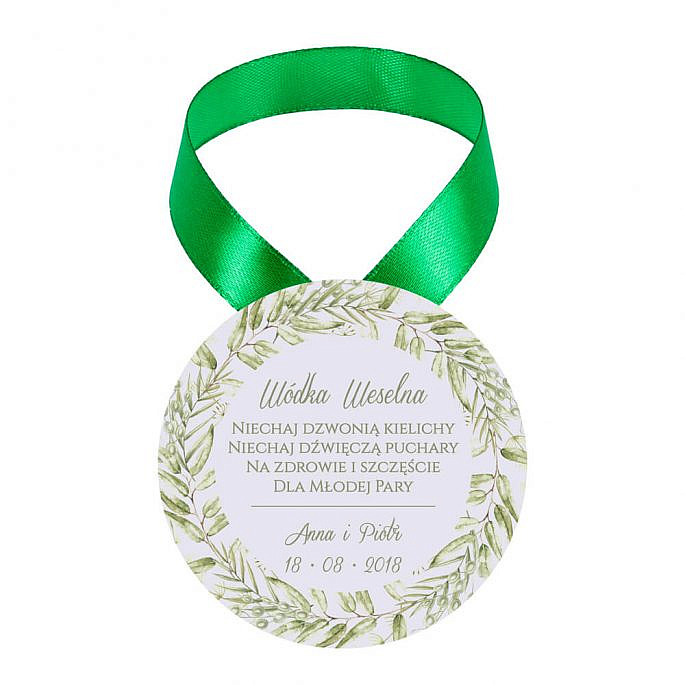 Zawieszka ozdoba na alkohol weselny na stół kwiaty greenery