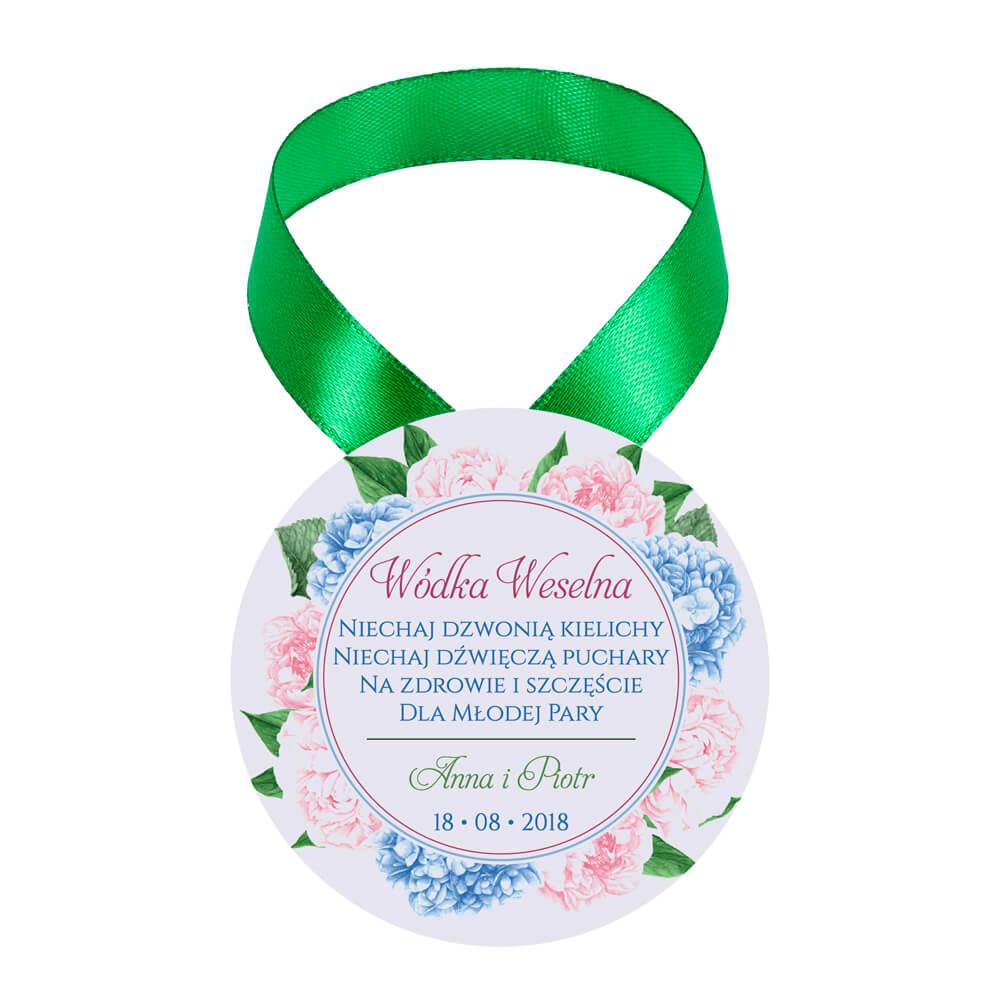 Zawieszka ozdoba na alkohol weselny na stół kwiaty piwonii hortensji
