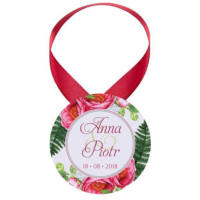 Zawieszka ozdoba na alkohol weselny na stół kwiaty piwonie