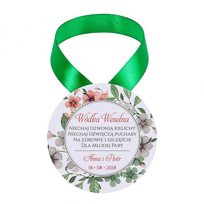 Zawieszka ozdoba na alkohol weselny na stół kwiaty retro
