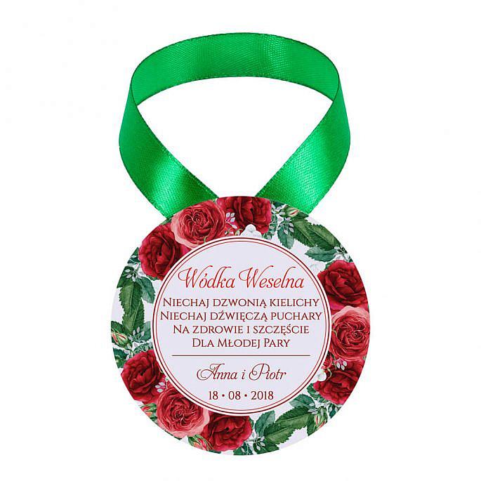 Zawieszka ozdoba na alkohol weselny na stół kwiaty róże