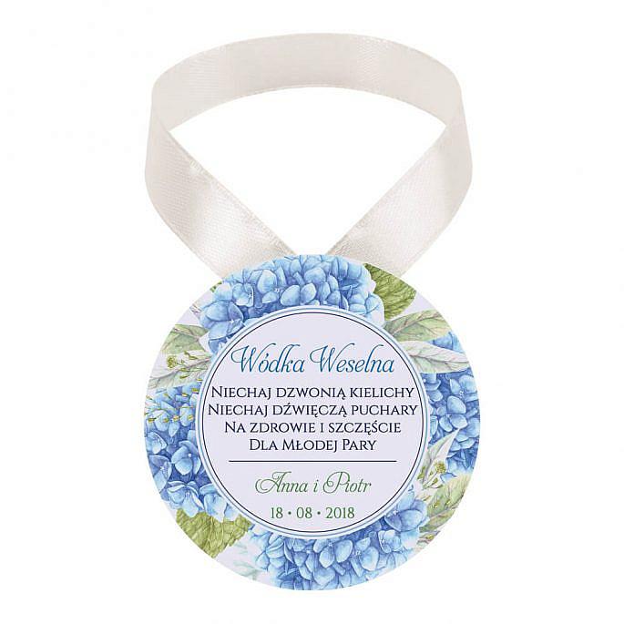 Zawieszka ozdoba na alkohol weselny na stół kwiaty hortensji