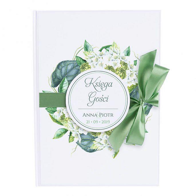 Księga gości na wpisy weselne papierowa książka a4 twarda okładka kwiaty zielone