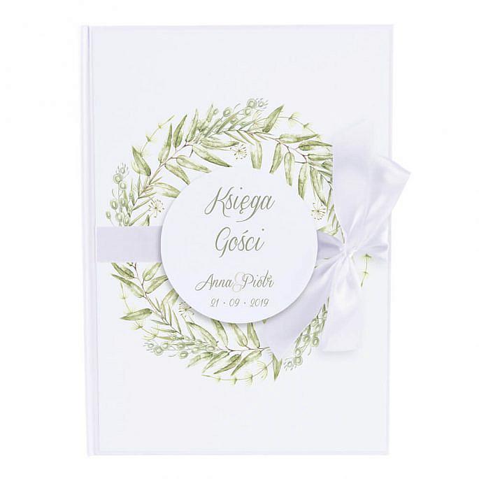 Księga gości na wpisy weselne papierowa książka a4 twarda okładka kwiaty greenery