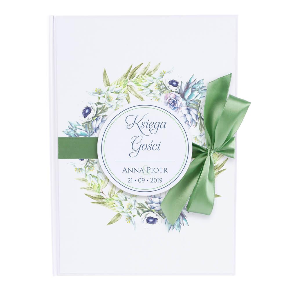 Księga gości na wpisy weselne papierowa książka a4 twarda okładka kolorowe kwiaty anemony sukulenty