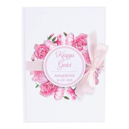 Księga gości na wpisy weselne papierowa książka a4 twarda okładka różowe goździki kwiaty