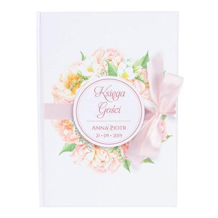 Księga gości na wpisy weselne papierowa książka a4 twarda okładka kwiaty prezje piwonie kokardka