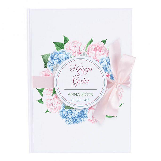 Księga gości na wpisy weselne papierowa książka a4 twarda okładka kwiaty hortensje piwonie