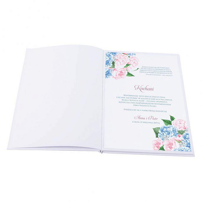 Księga gości na wpisy weselne papierowa książka a4 twarda okładka kwiaty kolorowe