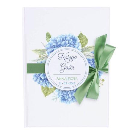Księga gości na wpisy weselne papierowa książka a4 twarda okładka kwiaty hortensje