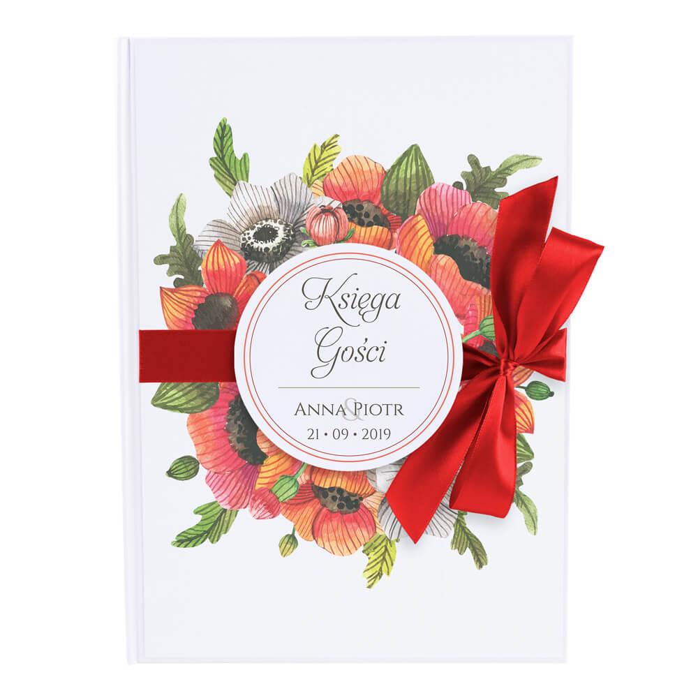 Księga gości na wpisy weselne papierowa książka a4 twarda okładka kwiaty maku wstążka