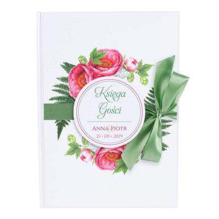 Księga gości na wpisy wesele kwiaty piwonie czerwone wstążka