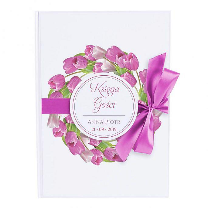 Księga na wpisy gości weselnych papierowa książka wstążka tulipany