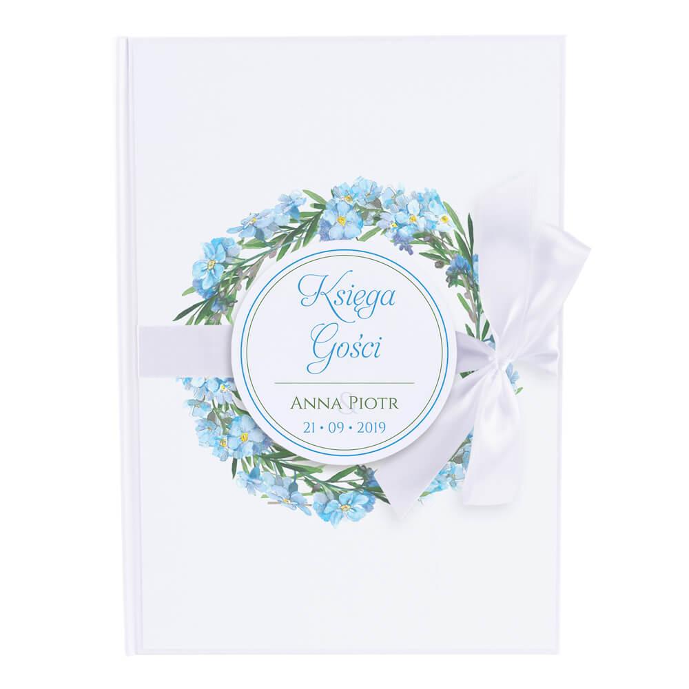 Księga gości na wpisy weselne papierowa książka a4 twarda okładka niezapominajki kwiaty
