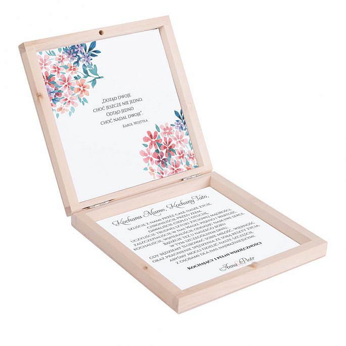 Eleganckie drewniane pudełko podziękowanie zaproszenie dla rodziców motyw kwiatowy niebieski
