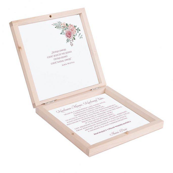 Eleganckie drewniane pudełko podziękowanie zaproszenie dla rodziców motyw kwiatowy róż