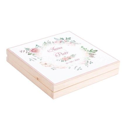 Eleganckie drewniane pudełko podziękowanie zaproszenie dla rodziców motyw kwiatowy róż zieleń