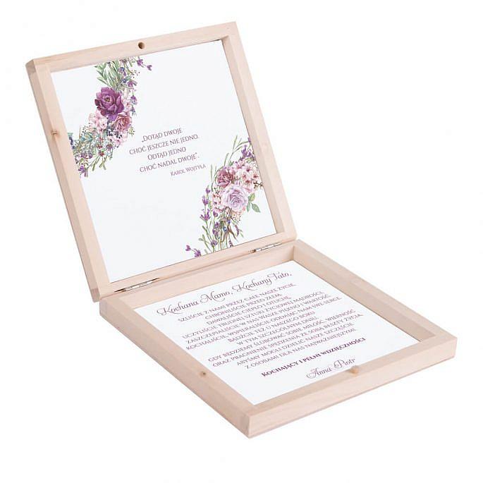 Eleganckie drewniane pudełko podziękowanie zaproszenie dla rodziców motyw kwiatowy fioletowy