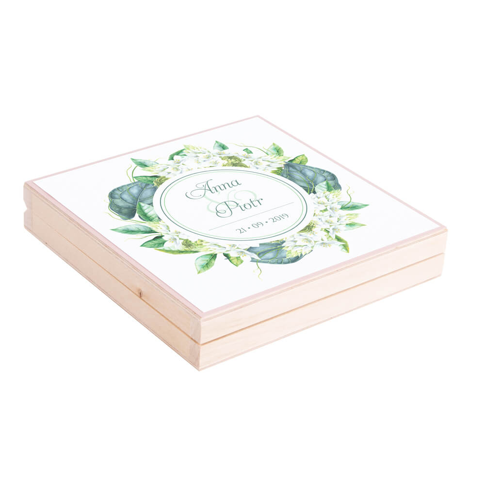 Eleganckie drewniane pudełko podziękowanie zaproszenie dla rodziców motyw kwiatowy zielony florals